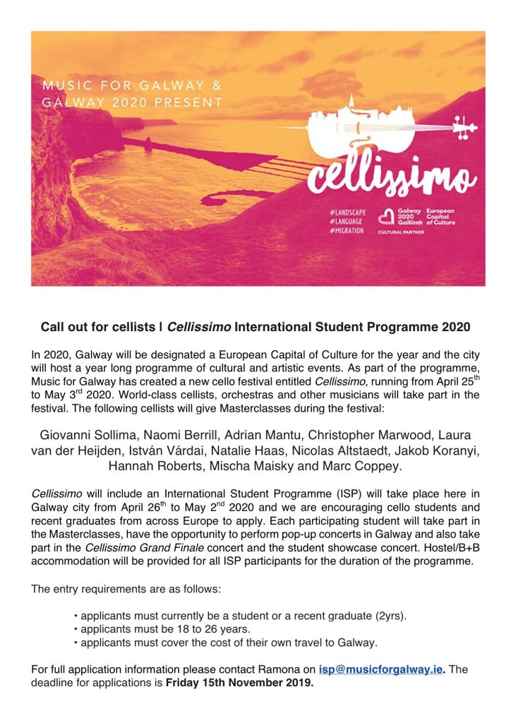 Cellissimo International Student Programme Callout Info - classical music concerts galway