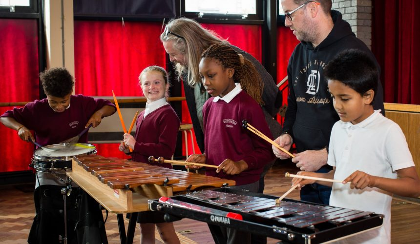 Children playing with percussion instruments 1- classical music concerts galway